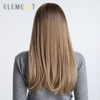Element 22 inch Long Synthetic Wig with Bangs High Density Dark Root Natural Headline Heat Resistant Hair Wigs for Women 3 Color 5