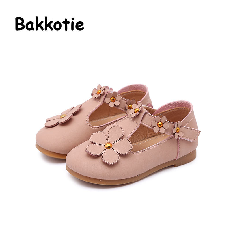 Bakkotie 2018 Spring New Baby Girl Fashion Flower PU Leather Party Shoe Child Casual Princess Flat Flower kid Brand Mary Jane