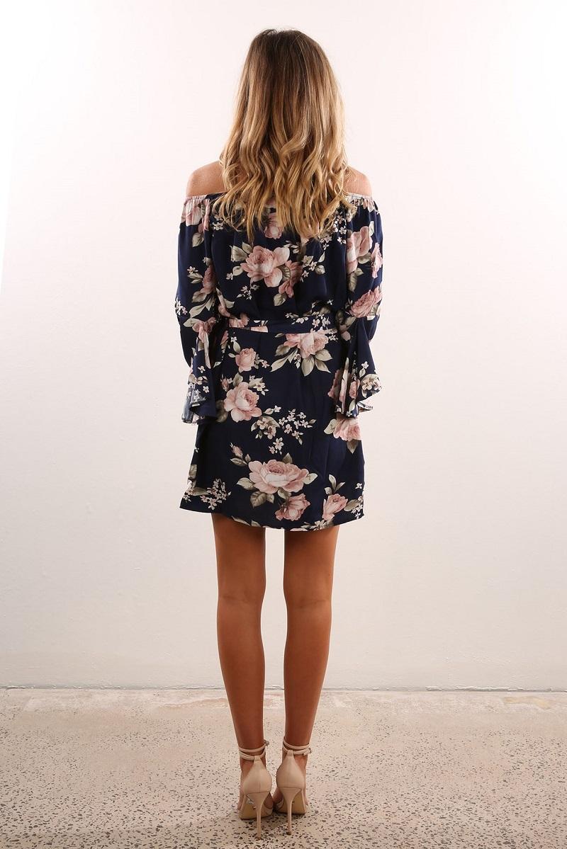 ELSVIOS Sexy Off Shoulder Slash Neck Office Dress 2017 Summer Floral Print Beach Dress Casual Flare Sleeve Women Dress Vestidos 3
