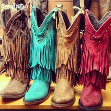 Women Winter Suede Colorful Ankle Boots Fringe Rivets Short Boots Square Heel Women Fashion Winter Tassel Boots Shoes