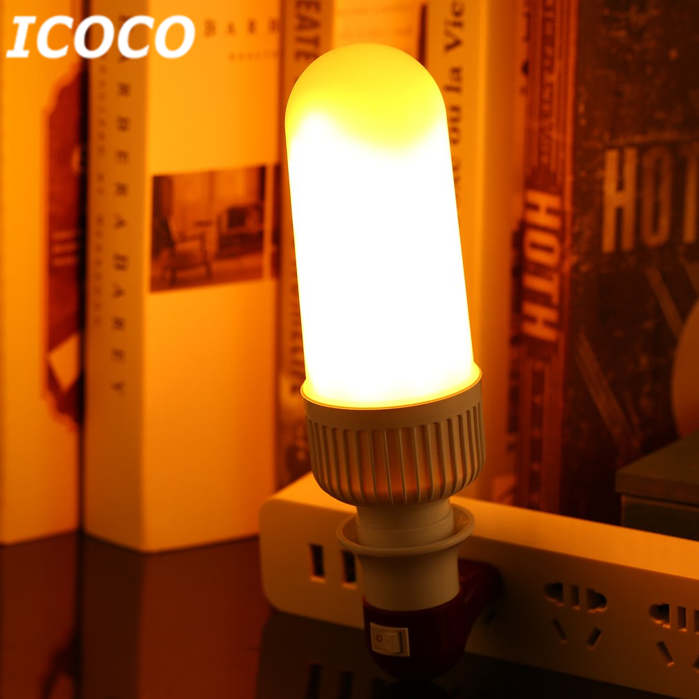 ICOCO E27 LED Flame Flickering Bulb Dynamic Flameless Simaulated Yellow Flame Light for Party Home Bar Festival Decor AC85-265V