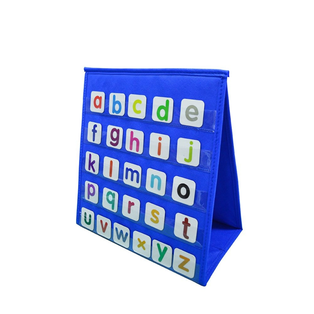 Table Top Pocket Chart Classroom, Double-Sided & Self-Standing Tabletop/Desktop Pocket Chart, Standard Pocket Chart Centers