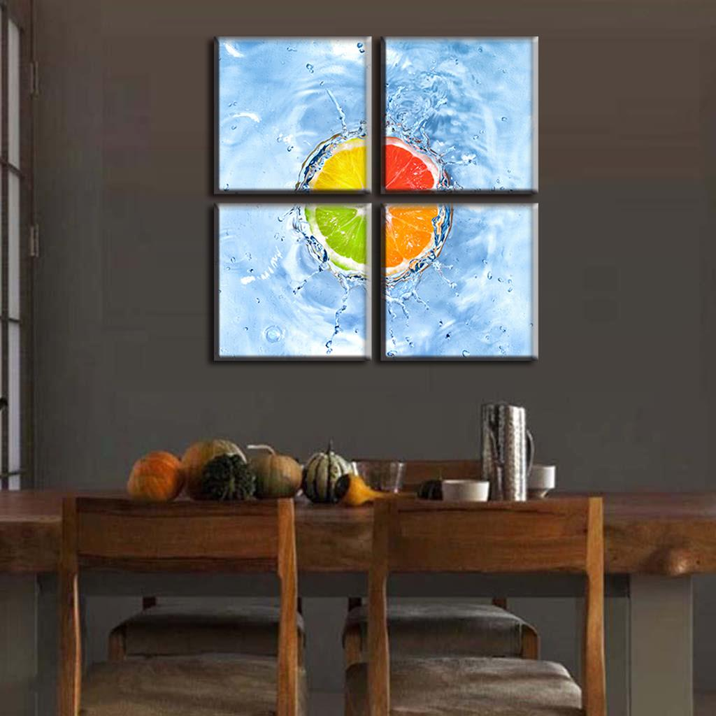 4 Panels Modern Still Life Fruit Painting Prints On Canvas <font><b>Framed</b></font> 4 <font><b>Color</b></font> Orange In <font><b>Blue</b></font> Water Wall <font><b>Picture</b></font> Kitchen Decor