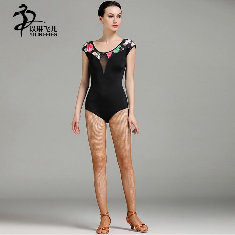New Arrival High-end Ice Silk Fabric Ballet Leotard Women Ballroom/ Latin/ Tango Dance Practice Leotard Black Color Dance Tops