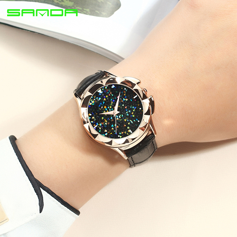 Bling Colorful SANDA Luxury Leather Quartz Watch Women Clock Female Ladies Dress Wristwatch Gift Gold 2018 Relojes Mujer Saat cartoon gold horse print blue leather strap sports ladies quartz watch relojes hombre 2017 bayan saat women watches hodinky b133
