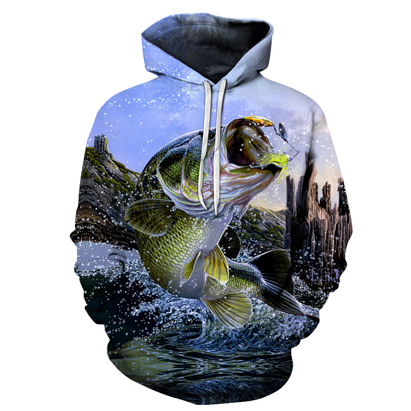 Autumn and winter New 3D Hoodie Men Hoody Funny fish Sweatshirts Tracksuits Print Coat Pullover Jacket Streatwear Women S-6XL