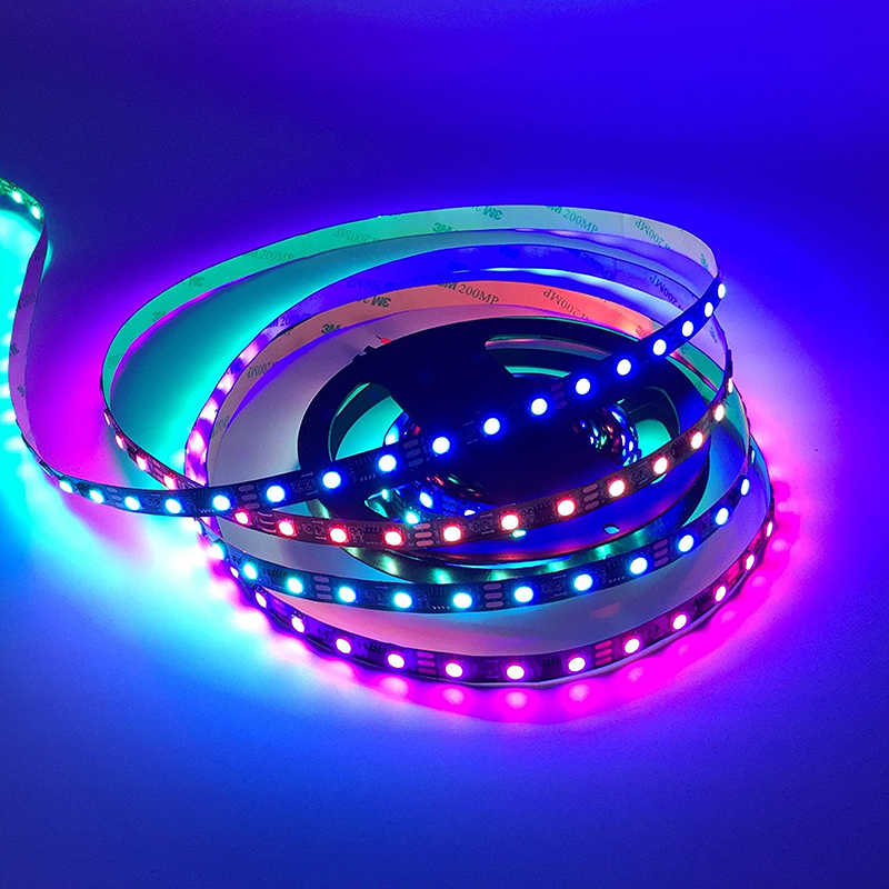 Ws2812 مقاوم للماء الرقمية شريط إضاءة ليد بكسل بالألوان الأحمر والأخضر والأزرق 2812b WS2811 2811 IC 5 فولت 12 فولت للبرمجة الفردية عنونة RGB 5050 مصلحة الارصاد الجوية