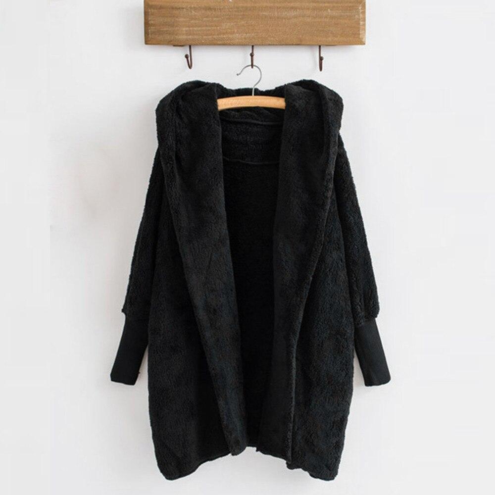 Women Hooded Coat Winter Warm Plush Pockets Cotton Coat Outwear Casual Hoodies Jacket Overcoat Top female outerwear 13