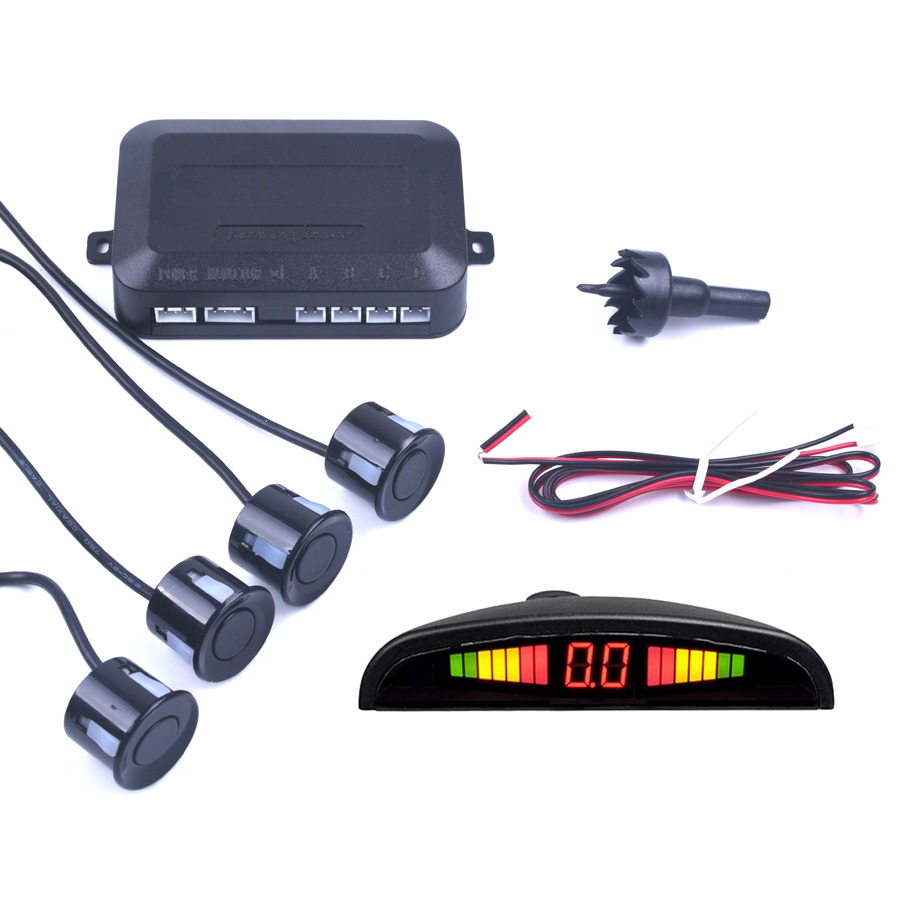 Mobil Auto Parktronic LED Sensor Parkir dengan 4 Sensor Reverse Backup Mobil Radar Parkir Monitor Detector Sistem Tampilan Lampu Latar title=