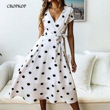 купить CROPKOP Summer Women Dress Fashion Dress Casual Polka Dot Print A-Line Party Dresses Sexy V-neck Short Sleeve Long Dress Vestido по цене 860.68 рублей