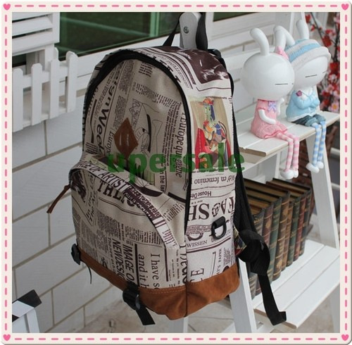 Fashion Korea Unisex New Design Newspaper Print Canvas Bag Girls& Boys Backpack School - China's largest production plant of bags store