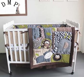 Promotion! 7PCS Embroidery Baby Crib Bedding Set cama infantil Crib Bedding Cot Set ,include(bumper+duvet+bed cover+bed skirt)