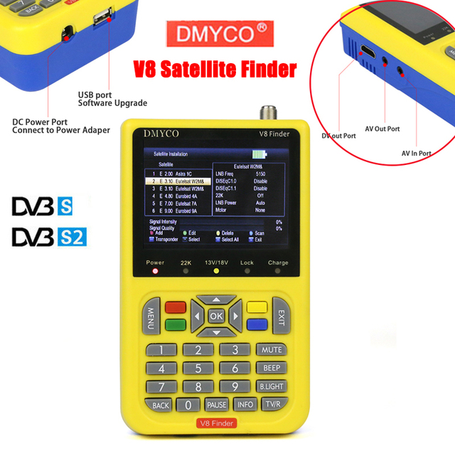 DMYCO v8 finder 3.5 inch LCD digital satfinder DVB-S2 sathero MPEG-2 MPEG-4 Frsat Receptor satellite Decoder Finder for russia
