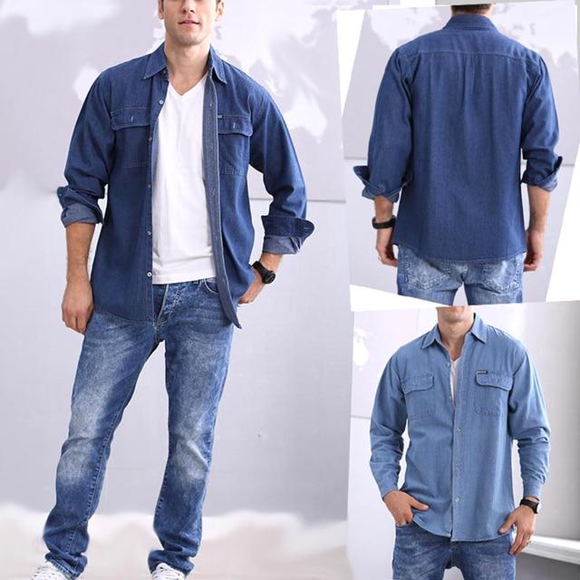 64da9d5523 Moda Ocio Hombres Azules de Mezclilla Camisas De Algodón Moderna Camiseta  Pantalones Vaqueros Masculinos Otoño Nueva