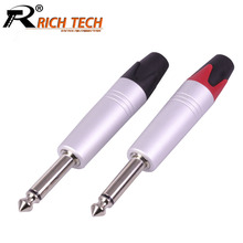 10pcs/lot 6.35mm 2 Poles Mono Plug Connector Aluminum 1/4″ Mono Male Plug Microphone 6.35mm Audio Jack 6.3 Plug Adapter