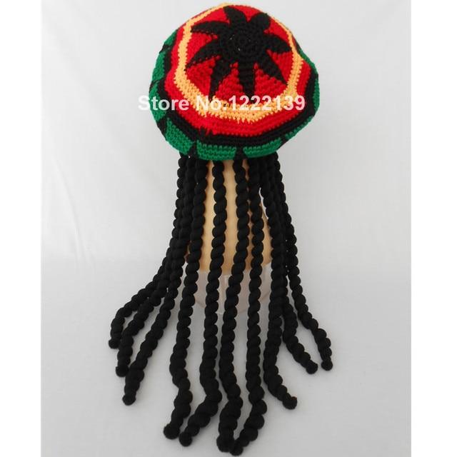 50pcs/lot Jamaican Bob Marley Rasta Beanie Hat With Dreadlocks Wig ...
