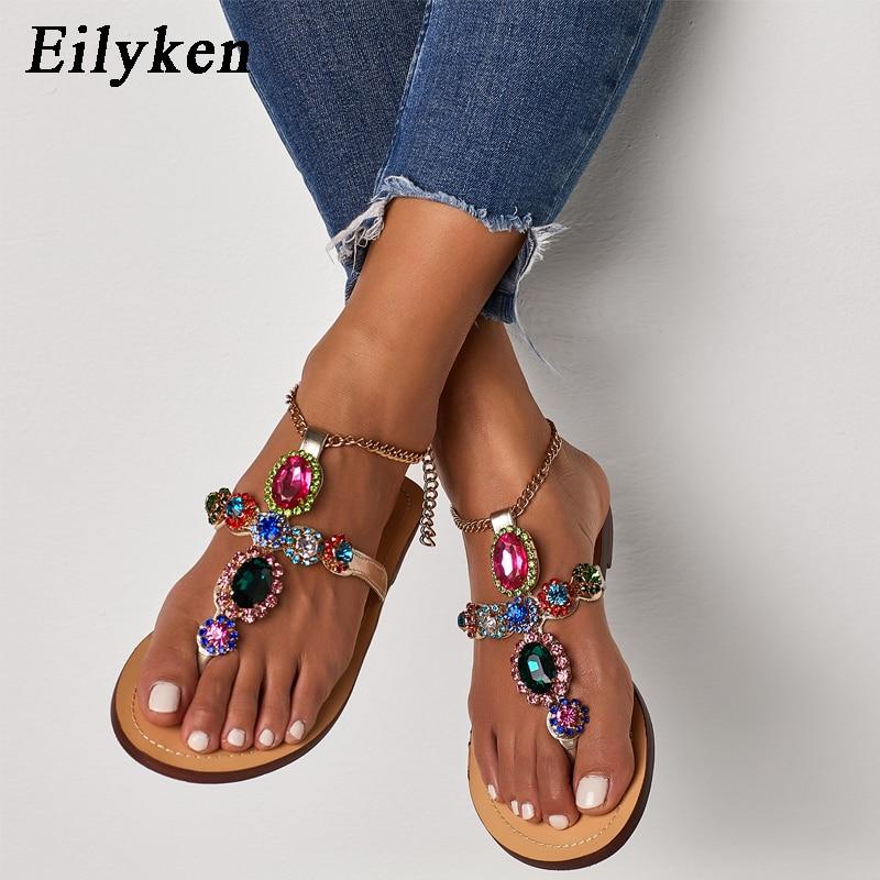 Eilyken High Quality Gladiator Rhinestone Flats Women Sandals Shoes Bohemia Crystal Beach Shoes Rubber Sole Fow Summer Women