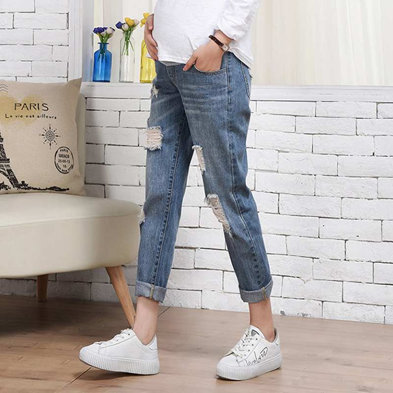 Pregnancy Jeans Maternity Pants Holes Loose Outer Wear Women Clothes Trousers Nursing Prop Belly  Pregnancy Clothing Overalls Pregnancy Jeans Maternity Pants Holes Loose Outer Wear Women Clothes Trousers Nursing Prop Belly  Pregnancy Clothing Overalls