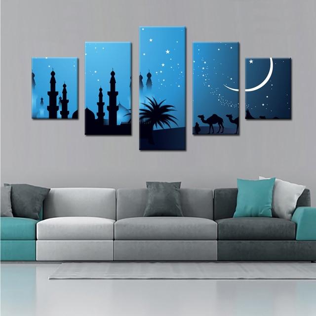Islamischen Celebrationl Leinwand Set Wand Modularen Bilder Für Wohnzimmer  Gemälde Auf Leinwand Malerei Leinwand Wandkunst Drop
