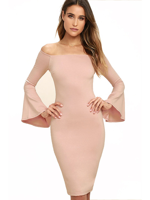 f869aa601180 Autumn 2018 Women Off Shoulder Dress Sexy Bodycon Dress Club Wear Long  Flare Sleeve Pink Black Party Dress Robe Femme Ete 2018