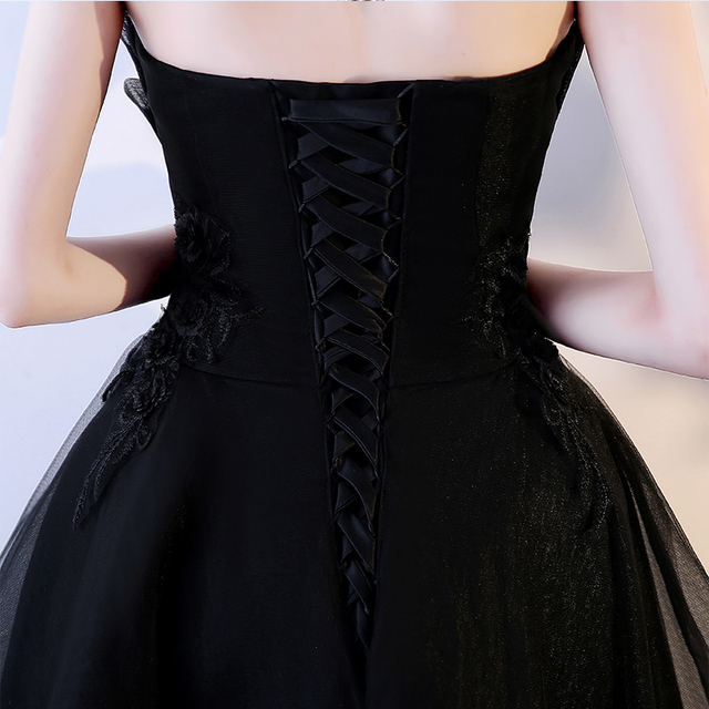 LAMYA Robe De Soiree Lace Appliques Short Front Evening Dress 2019 Customized Sleeveless Banquet Sexy Prom Dress Party Gown 5