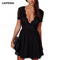 LASPERAL Summer Deep V Neck Bodycon Party Dress Women Sexy Patchwork Lace Dress Feminine Solid Fashion