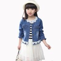 Vestito di Modo delle 2017 Primavera Autunno Bambini Set di 4-13 anno-vecchia Ragazza Del Merletto di Cucitura Giacca di jeans + Vestito a strisce Vestito A due pezzi