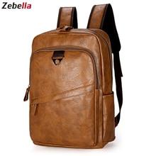 Zebella Men Backpack Vintage Waterproof PU Leather Black Travel Bag Men Large Ca