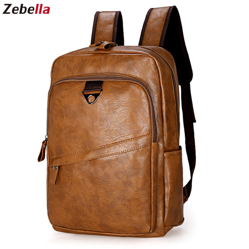 Zebella Men <font><b>Backpack</b></font> Vintage Waterproof PU <font><b>Leather</b></font> Black Travel Bag Men Large Capacity Teenager Male Mochila Laptop <font><b>Backpacks</b></font> image