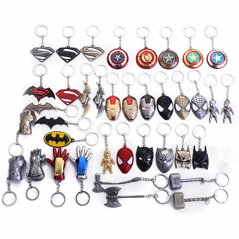 Marvel Avengers Thor's Hammer Keychain Captain America Shield Hulk Batman Mask KeyChain Keyrings Action Figure Cosplay Toys