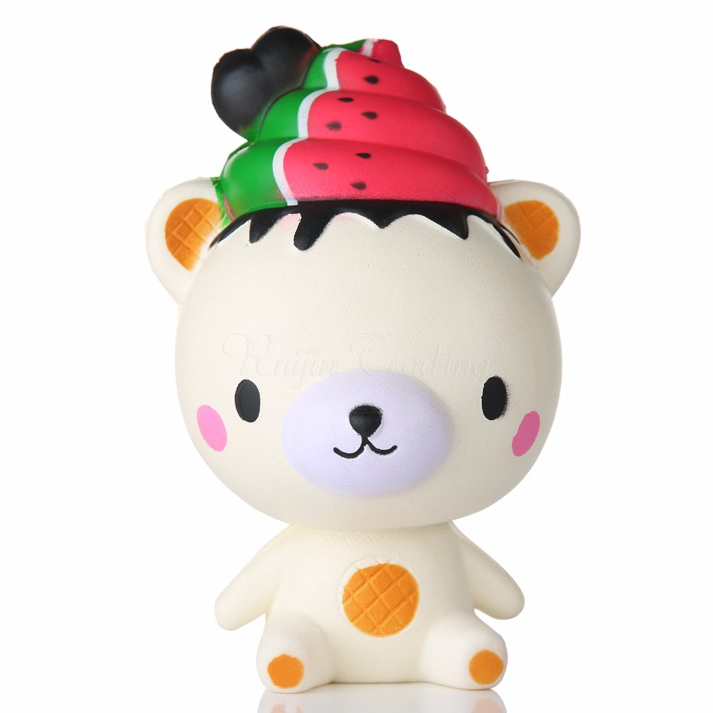Mskwee Kawaii  Watermelon Ice Cream Bear Squishy Cute Cartoon Slow Rising  Pendant Kids Funny Squeeze Toys Gifts For Kids