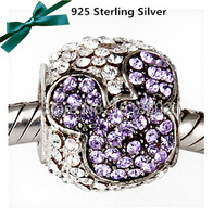 925 Sterling Silver Pendant Tanzanite Rhinestone Micky Mouse Charm Accessories Bead Fit Bracelet Necklace 1pc Lot