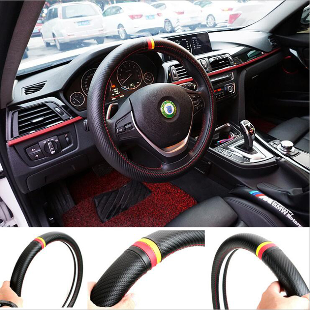 Steering Wheel Cover Car Styling German Flag Carbon Fiber Leather PU for Volkswagen Golf 5 4 6 7 Polo Jetta Passat B5 B6 B7 B8