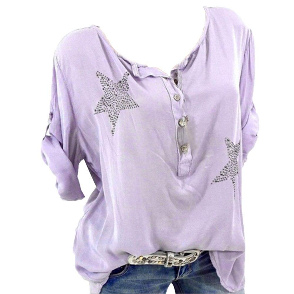 Audacious Chaonan Women Top Summer Fashion Casual Button Five-pointed Star Hot Drill Plus Size Print Loose Women Shirt 2019 Dropship#g High Quality Goods Women's Clothing