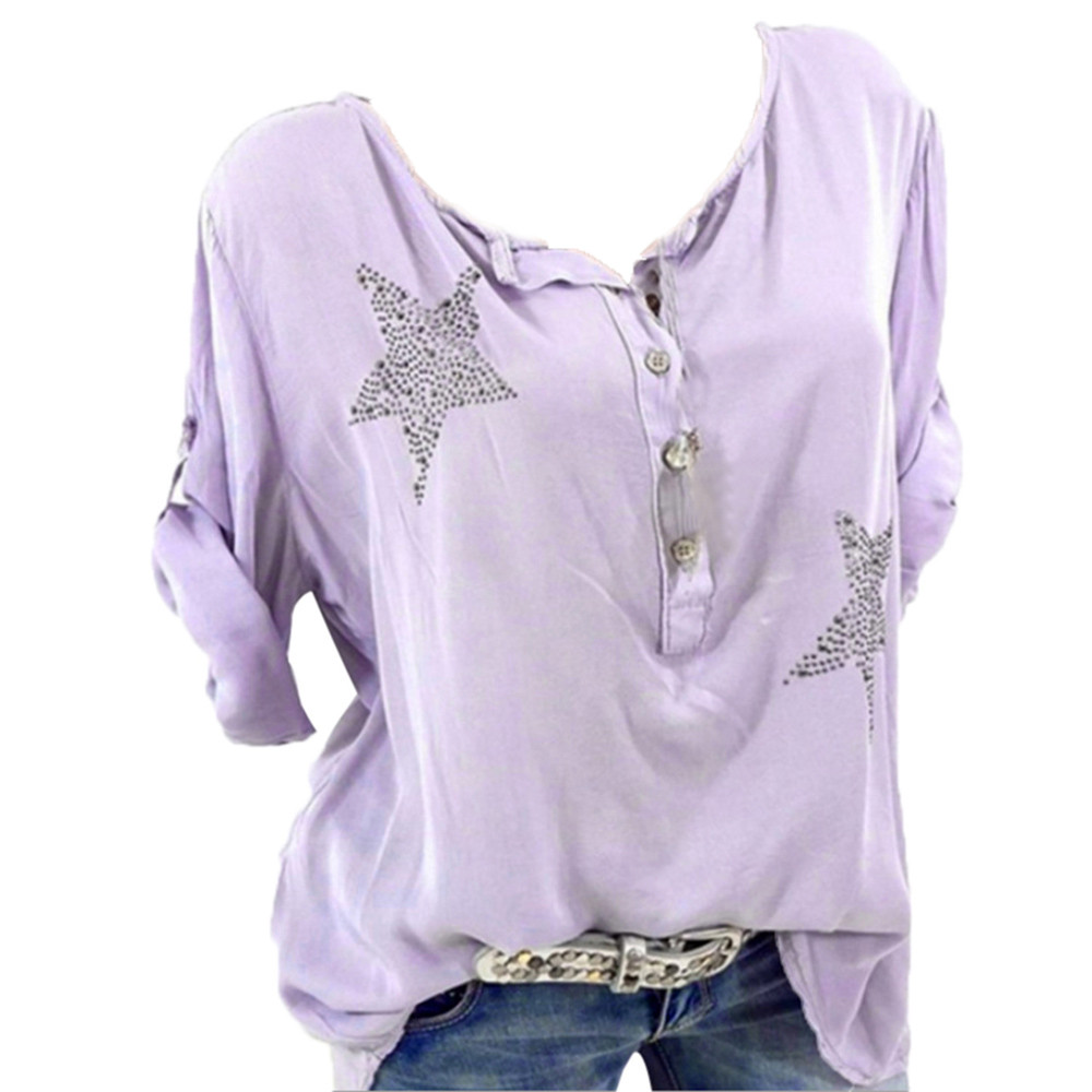 Female Shirt Top Three Quarter Sleeve Summer Fashion Casual Button Five-pointed Star Hot Drill Plus Size Tops Blouse Dropship #g Women's Clothing