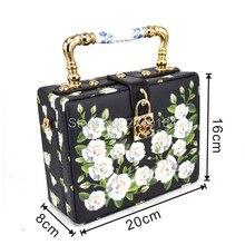 fashion design elegant white roses printing ceramic handle women's handbag shoulder bag mini women messenger bag totes purse