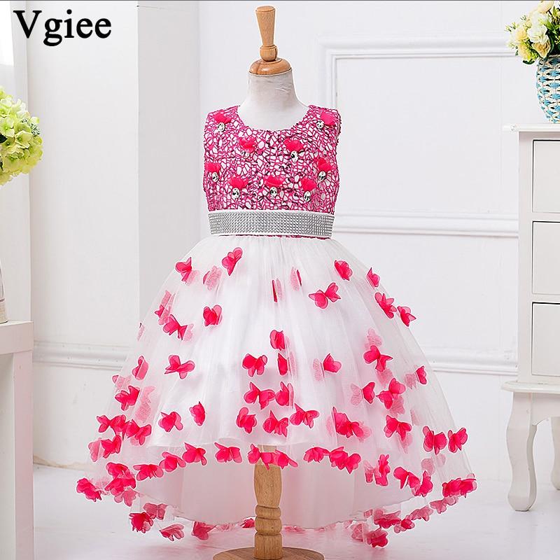 Vgiee robes enfants pour filles robes de princesse de noël o-cou genou longueur robe de mariage de fête pour les filles 10 à 12 ans CC082