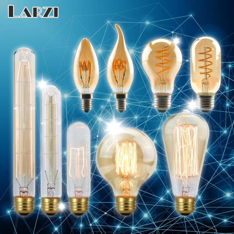 LARZI Retro Vintage LED Spiral Filament Light Bulb 2200K 4W 40W 220V Dimmable Edison Lamp C35 T10 T45 A19 A60 ST64 G80 G95 G125