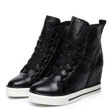Новинка; сезон осень-зима; обувь из натуральной кожи с высоким берцем на шнуровке; женские кроссовки; обувь на высоком каблуке, увеличивающая рост; повседневная обувь на танкетке