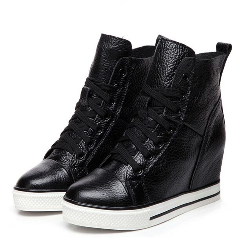 019 New Autumn Winter Lace up High top Genuine Leather Shoes Women Sneakers Shoes High Heels Increase Within Wedges Casual Shoes in Women 39 s Vulcanize Shoes from Shoes