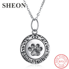 SHEON Authentic 925 sterling silver Cute Animal Footprints Dog Cat Paw Necklaces & Pendants Women Silver Jewelry