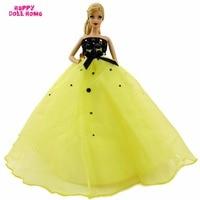 מדהים מסיבת חתונת שמלה עם Bowknot נסיכת חרוזים נצנצים שמלה בעבודת יד DIY בגדים עבור ברבי בובת מתנת בובת בציר