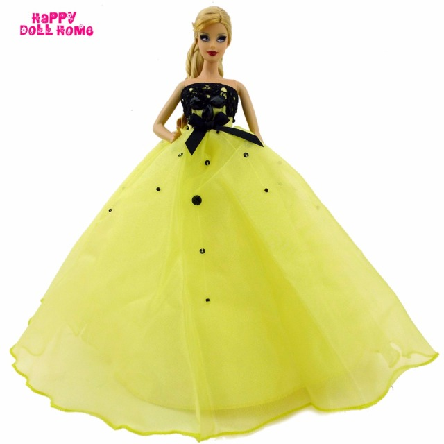 Gorgeous Wedding Party Dress With Bowknot Sequin Beads Princess Gown  Handmade DIY Clothes For Barbie Doll 72389b6ee620