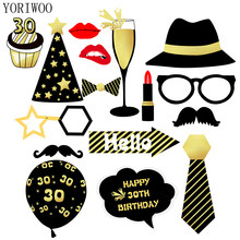 YORIWOO 18th 30th 40th Happy Birthday Photo Booth Props Photobooth Props 30 Years Birthday Party Decorations Adult 30 40 50 60(China)