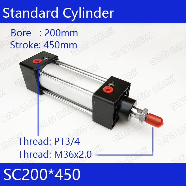 SC200*450 200mm Bore 450mm Stroke SC200X450 SC Series Single Rod Standard Pneumatic Air Cylinder SC200-450