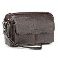 Mannen Echt Lederen Clutch Bags Vintage Mobiele Telefoon Case Sigaret Purse Pouch Mannelijke Handige Tas Kaarthouder Portemonnee
