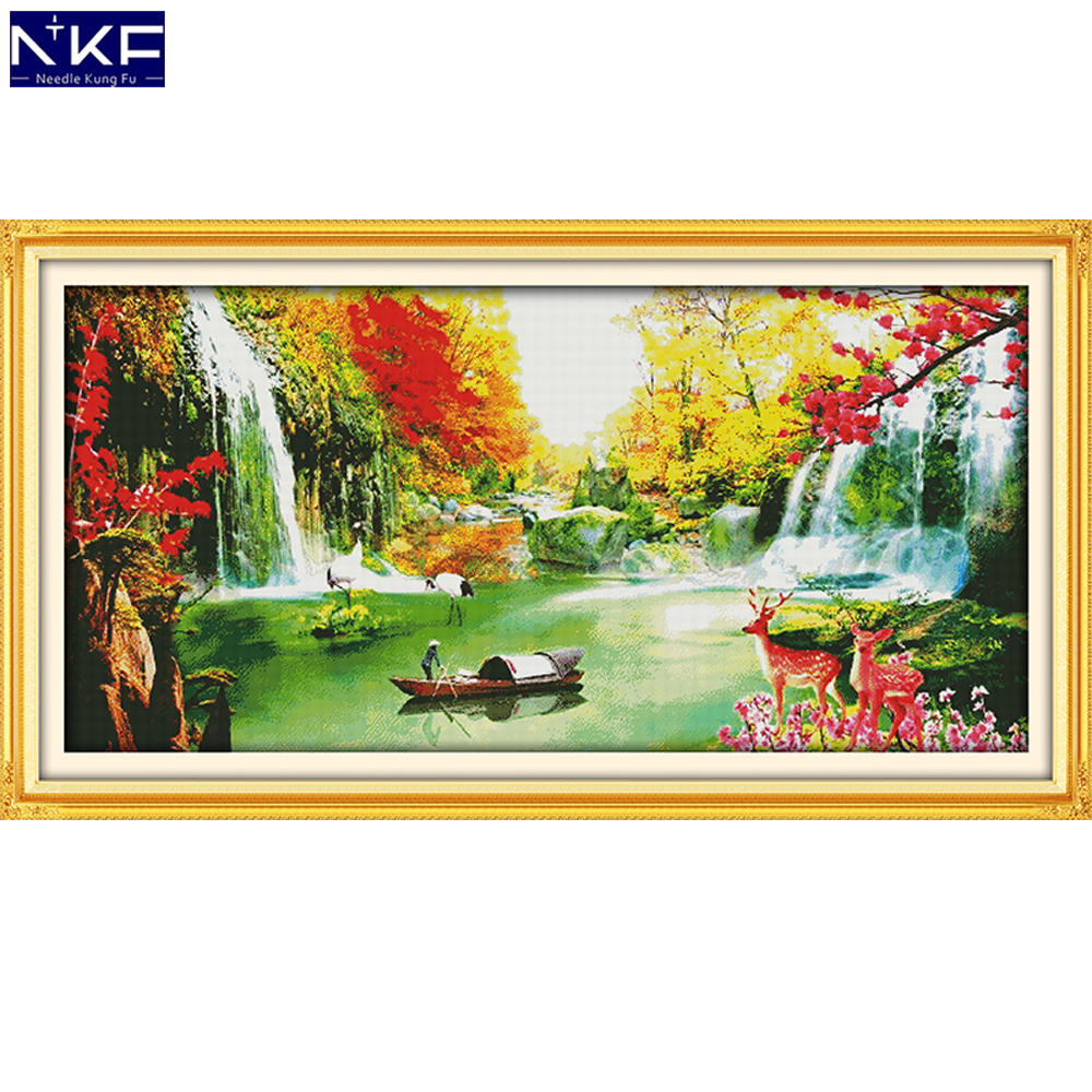 NKF Creating Wealth Stampede Cross Stitch Pattern DIY Kit Needlework Embroidery Sets Chinese Cross Stitch for Home DecorNKF Creating Wealth Stampede Cross Stitch Pattern DIY Kit Needlework Embroidery Sets Chinese Cross Stitch for Home Decor