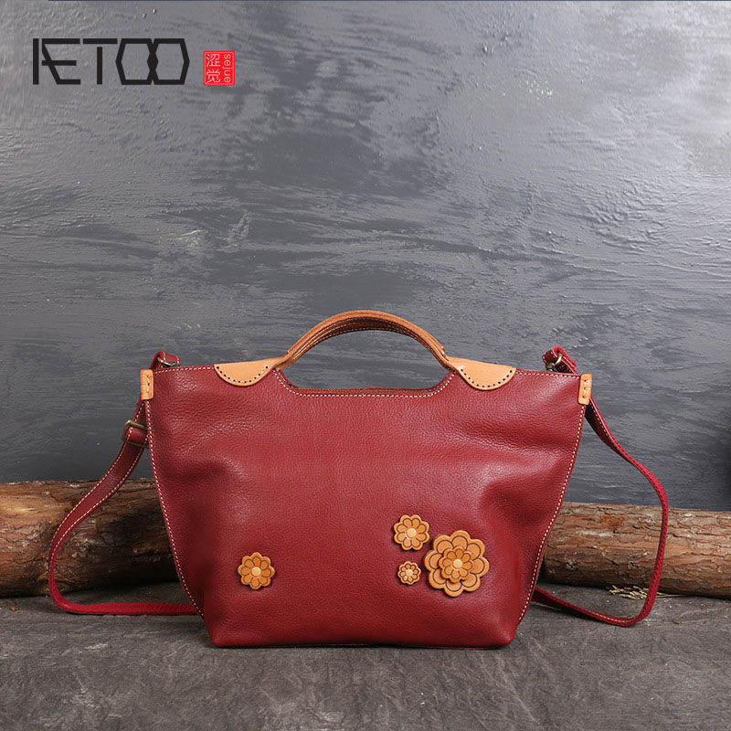 AETOO New original hand-tanned leather tanning hit color ladies shoulder diagonal leather handbags casual bag