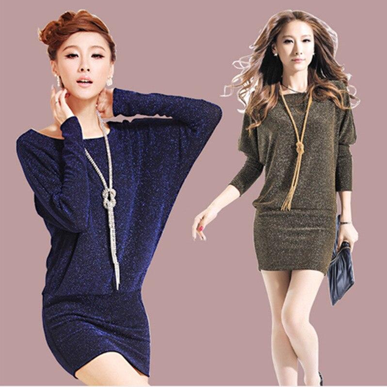 Livraison gratuite femmes robe 2015 grande taille coréenne automne & hiver robe o-cou fond vintage robe chauve-souris à manches longues robe ukraine