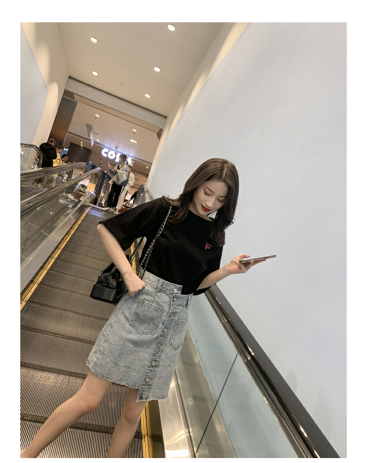 2019 summer new Korean web celebrity short-sleeved T-shirt + irregular denim skirt set for two pieces